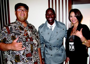 Konishiki and his wife Chie with actor/singer Tyrese Gibson