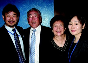 Paramount Japan's top man Ichiro Okazaki, Japan Association of Theater Owners' chairman and Mrs. Mitsuhiko Okura, and Kikuko Migita
