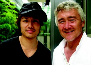 Popular actor Manabu Oshio and sports representative Dan Nomura at the Grand Hyatt's Oak Door