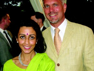 Luxembourg Ambassador Paul Steinmetz and his wife Radhika at their national day reception