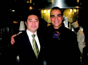 Hilton Tokyo's Food and Beverage Manager Go Kondo visiting top Chilean chef Matias Palomo.