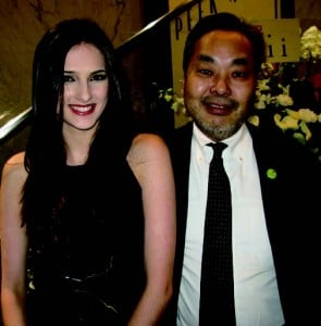 World top model Hannah Dever with Peek-A-Boo General Manager Yasuo Kobayashi.