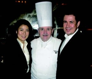 Grand Hyatt's Josef Budde, Park Hyatt Shanghai GM Christophe Sadones, and his wife Judy.