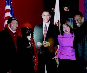 Oliver and Clara Haynes, their son Steven, and Jackie Speier with President Obama (?) in Wash., D.C.