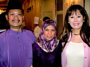 Outgoing Brunei Minister Counsellor Maidin Mahadi, his wife Mahani, and Kyoko Spector.