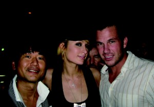 Samantha Thavasa president Kazumasa Terada, Paris, and her current squeeze, former baseball player/actor Doug Reinhart.