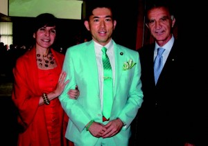 Popular politician Kotaro Tamura congratulates Italian Ambassador Vincenzo Petrone and his wife Susana