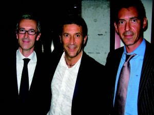 Guillame Davin, Panzetta Girolama, and Bvlgari Japan's president Stephane Lafay at the reopening party of Fiat's showroom, café, and party venue on Aoyama Dori