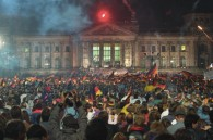 Feier zur Wiedervereinigung vor dem ReichstagsgebŠude 3. Oktober 1990