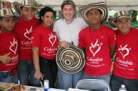 Colombian Ambassador Patricia Cardenas with a visiting Colombian cultural group