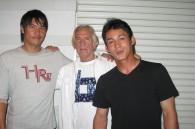 Bill Hersey with Yakult Swallows baseball players Tomohito Yoneno and Yusuke Kajimoto