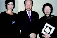 Hayakawa publishing company president Hiroshi Hayakawa and his wife Yoko with Audrey Tautou