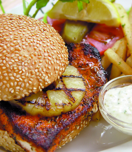 Cajun swordfish burger