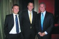 Michael Maicher, United Airlines VP James Mueller, and Jeff Cook of Jackson Wine Estates International