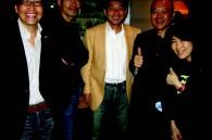 Hiroyuki Koiwai, Tomolazu Fukunaga, Kunio Yamada, Noriyasu Ueki and Mika Minegishi of Warner Bros. at the after party for the Tajomaru premiere