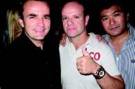 Racing journalist Adam Cooper, F1 driver Rubens Barrichello, and party host Tsukasa Shiga