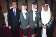 Etihad Airways VP/GM Japan Nick Masatsugu Nishiyori, Ethihad flight attendants, and UAE Ambassador Al-Nowais