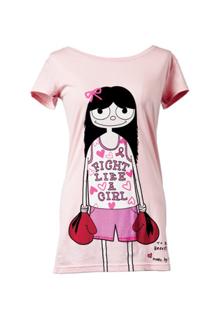 Pink t-shirt 'Fight like a girl'