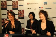 Régine Hatchondo and Jane Birkin speaking at the press conference