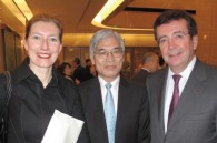 French cultural attache Helene Kerlmachter, Seiji Kojima of the Ministry of Foreign Affairs, and French Ambassador Philippe Faure
