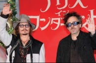 Johnny Depp and Johnny Depp greets fans in Tokyo director Tim Burton
