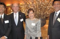 Takashi Nakaya, Gerald Glennon and Patricia Tan of Halekulani, and the Imperial's deputy GM Tetsuro Inumaru