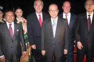 Etihad's Negoro Hayato and Juan Torres, former Prime Minister Yasuo Fukuda, and Etihad's Wayne Pearce and Nick Masatsugu Nishiyori