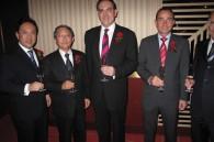 Hilton Tokyo's new GM Naoki Oto, Nippon Hilton president Tetsuya Yamada, Christian Baudat, and Martin Rinck