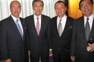 Moroccan Ambassador Samir Arrour, Philippine Ambassador Domingo Siazon, politician Tetsuro Yano, and Vietnamese Ambassador Phu Binh Nguyen