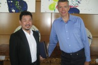 Paramount Pictures Japan's top man Ichiro Okazaki and the company's president Andrew Cripps at the Ritz Carlton