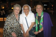 Regina Doi, Sister Mila, and Sandra Mori after a sayonara lunch for Sister Mila