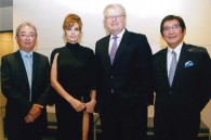 Sony's Masao Morita, CEO Sir Howard Stringer, and Dick Sano with Angelina Jolie, who was here promoting the film Salt