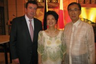 Philippine Ambassador and Mrs. Domingo Siazon being congratulated by French Ambassador Philippe Faure