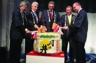 Lufthansa Japan GM Otto Benz, German Ambassador Volker Stanzel, Lufthansa CEO Wolfgang Mayrhuber, Narita Authority president Morinaka-san, and Uwe Mueller