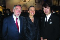 Austrian Ambassador Uta Stefan- Basti, her husband Peter Stefan, and DJ Hidetsugu Zushi