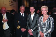 Lufthansa pilot Mr. Hohl with German minister Anna Prinz and her son Heinrich