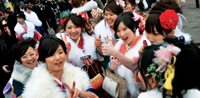 Japanese graduates celebrate. Photo Creative Commons.