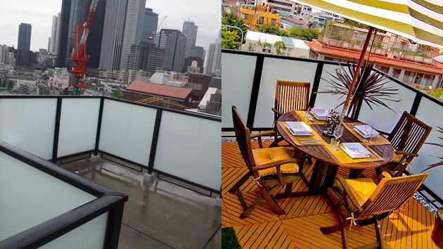 Veranda before & after