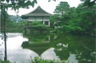 Tranquil pond in Heian Shrine's garden