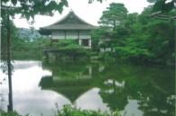 Tranquil pond in Heian Shrine's garden