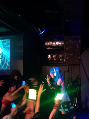 The first J-Geek party on March 8 was dedicated to virtual songstress Hatsune Miku, and featured a full lineup of Vocaloid-themed music and cosplay