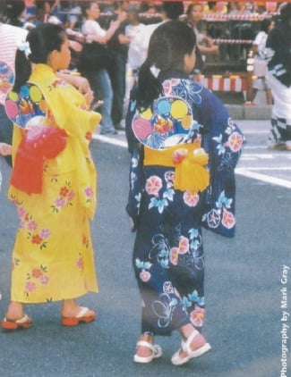 Girls dancing in yukata