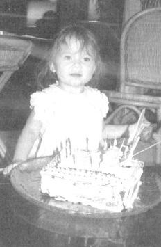A little girl enjoying her birthday