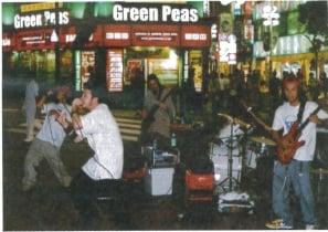 Indie band outside Shinjuku Station
