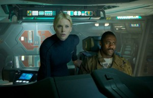 Charlize Theron and Idris Elba on the bridge of the ship Prometheus