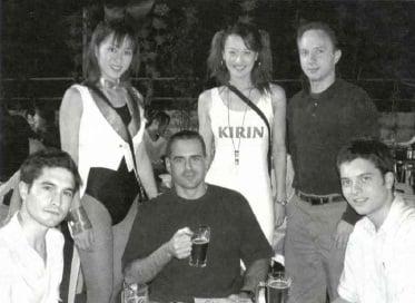 At Kudan Kaikan:Tim Gottlieb with the girls, James Mulligan, Dan Riney and John Domokos