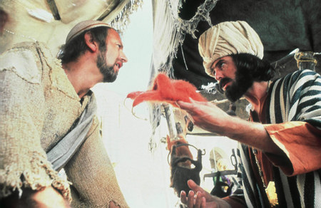 Graham Chapman with Eric Idle in 'Life of Brian'