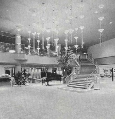 Dramatic, spacious lobby of the Tomiura