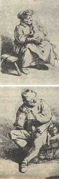 Above: 'Woman Seated Holding a Large Jug'; below: 'The Drinker'