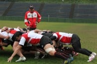 Eddie Jones puts the forwards through their paces at training in Tokyo